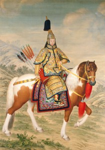 Giuseppe CASTIGLIONE Italian 1688–1766, worked in China 1714–66 Qianlong Emperor in ceremonial armour on horseback 清人画弘历戎装骑马像轴Qing dynasty, Qianlong period 1739 coloured inks on silk 322.5 x 232.0 cm The Palace Museum,
