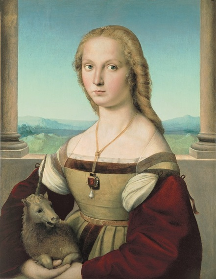 Raphael (1483-1520), Portrait of a Lady with a Unicorn, ca. 1505-06, oil on canvas transferred from panel, 26 5/8 x 20 15/16 in. (67.7 x 53.2 cm), Galleria Borghese, Rome, inv. 371 1