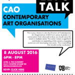 Poster for lets talk contemporary art organisations event
