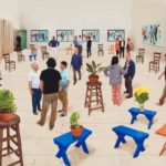 David Hockney English 1937– 4 blue stools 2014 photographic drawing printed on paper, mounted on Dibond edition 5 of 25 170.3 x 175.9 cm (image) Collection David Hockney Foundation © David Hockney Photo Credit: Richard Schmid